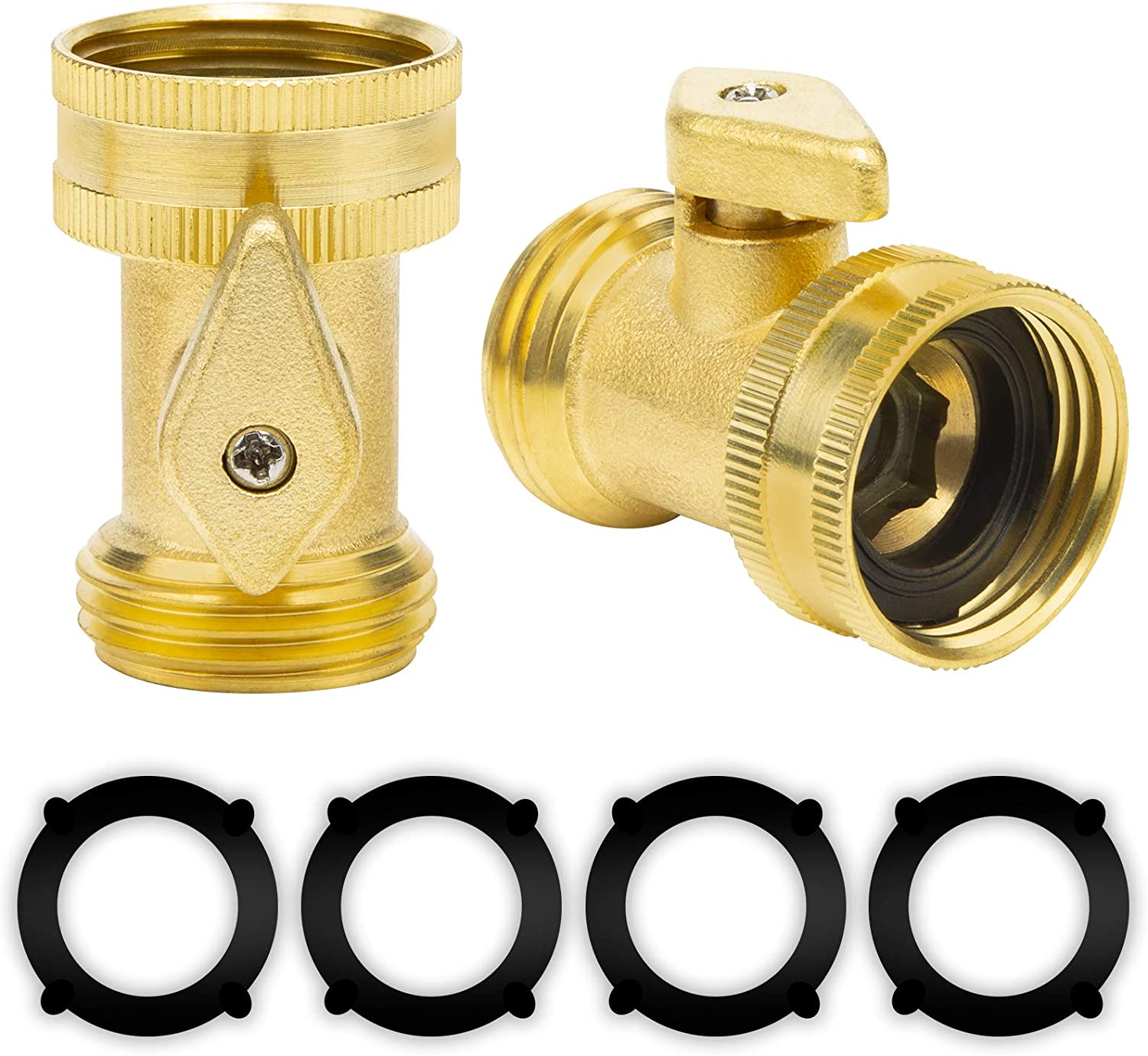 Oupeng sky Brass Garden Hose Shut Off Valve,Heavy Duty Brass Shut Off Valve Garden Hose Connector, 2 Pack Heavy Duty 3/4 Inch Solid Brass Garden Hose Shut Off Valve with 4 Extra Rubber Washers.