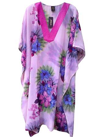 21e7f19321ff5 SUNROSE Purple Floral Print PLUS SIZE Aloha Beach Cover Up Kaftan Caftan  Dress at Amazon Women's Clothing store: