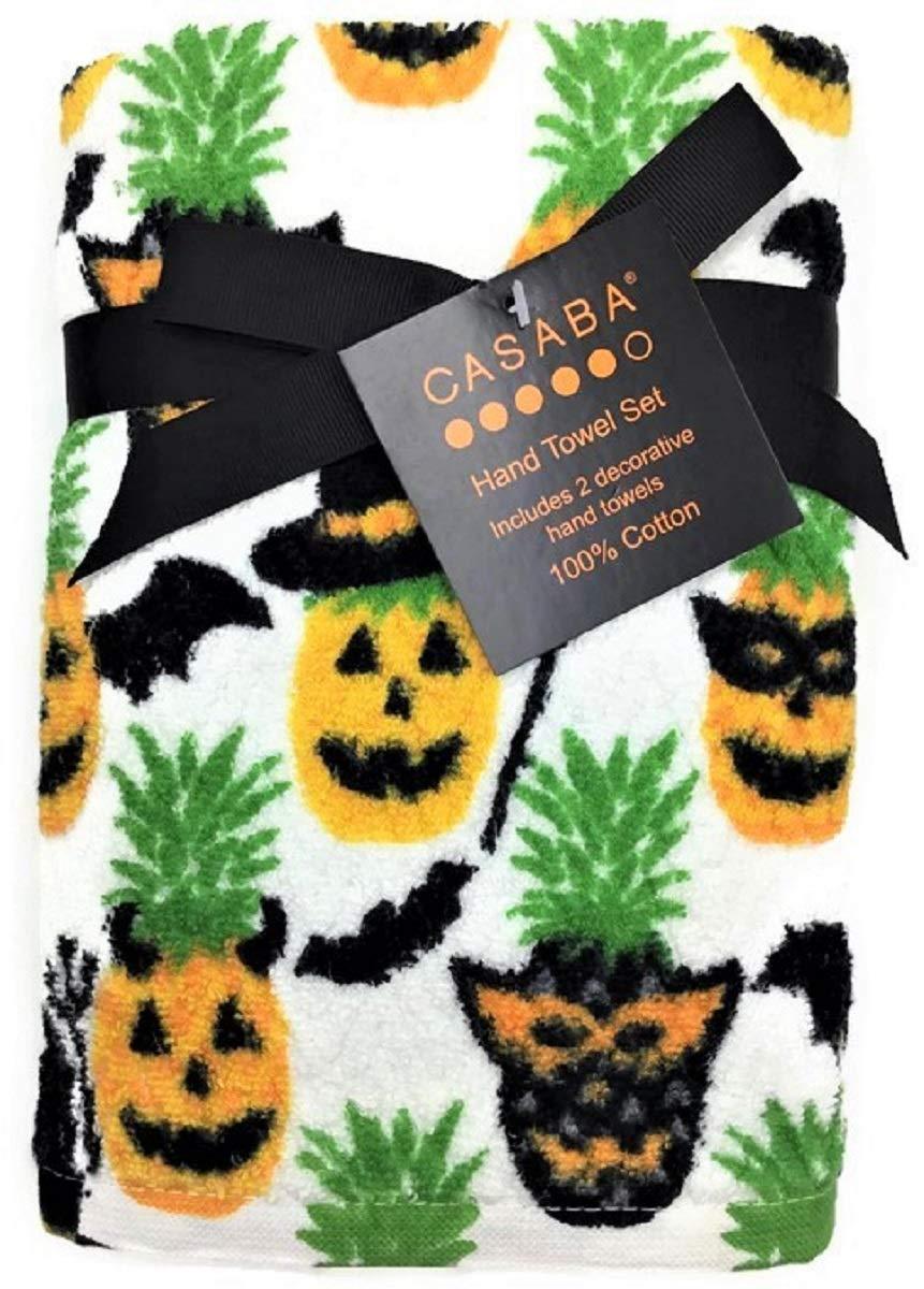 Casaba Spooky Halloween Pineapples Decorative Hand Towel Set