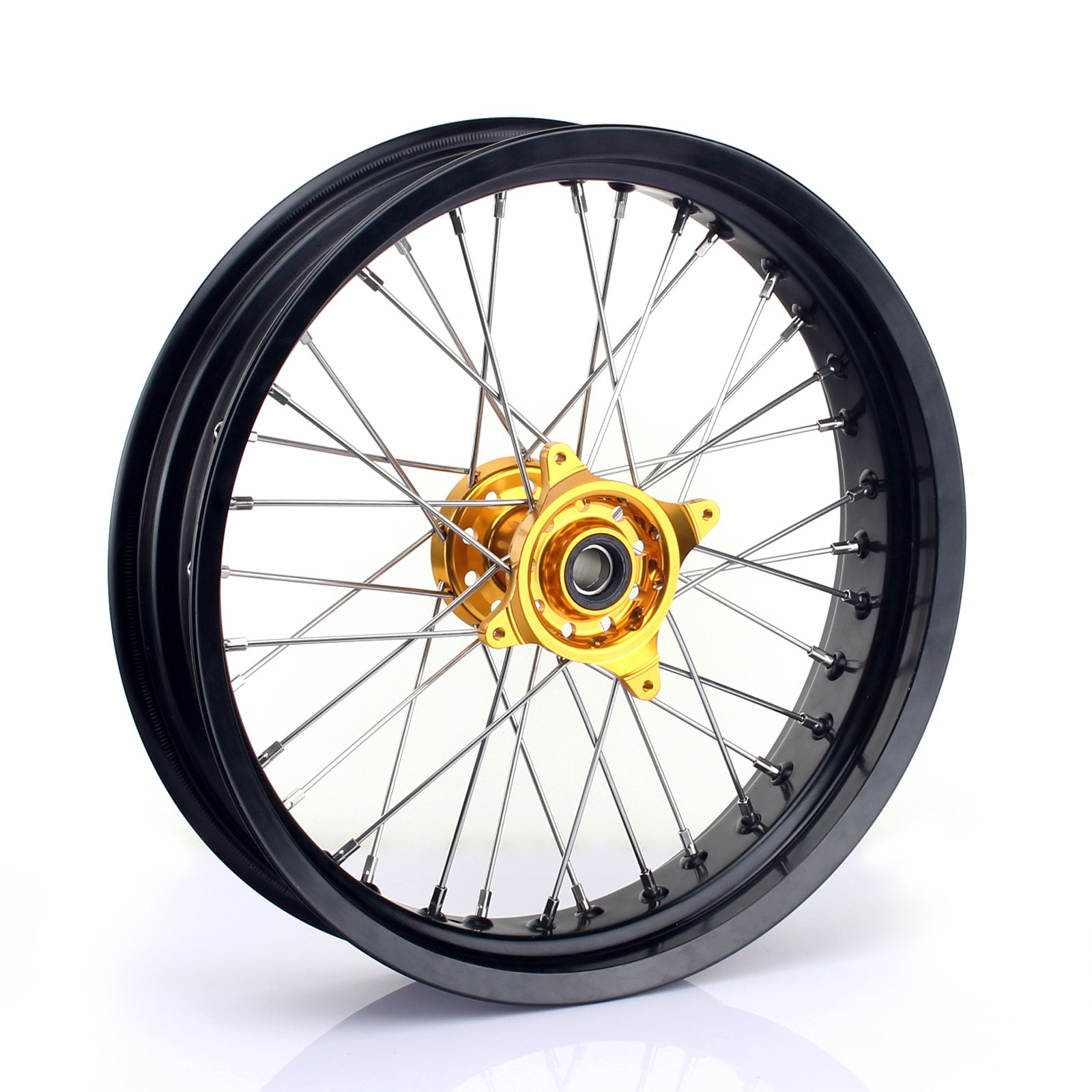 TARAZON 17x3.5 Supermoto Front Complete Wheel Kit Rim Spokes Gold Hub for Suzuki RMZ250 2007-2016 RMZ450 2005-2016