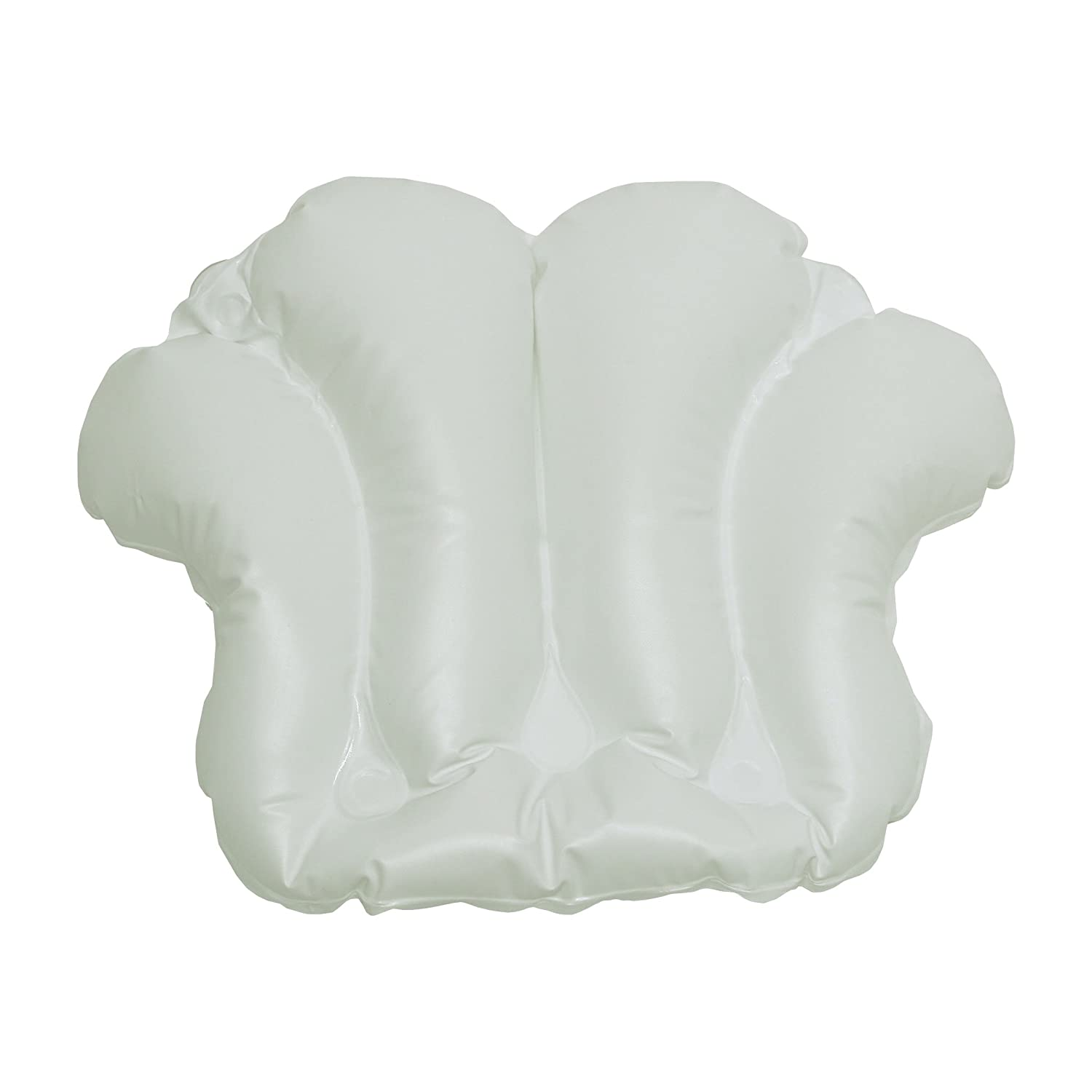 "Richards Homewares Luxury Spa Bath Pillow – 100% PVC, Durable Vinyl Material – Inflatable – Non Slip with 4 Suction Cups – Neck & Shoulder Support – Waterproof - White - 18"" x 14.5"" x 3.8"" Inch Good Success 200701"