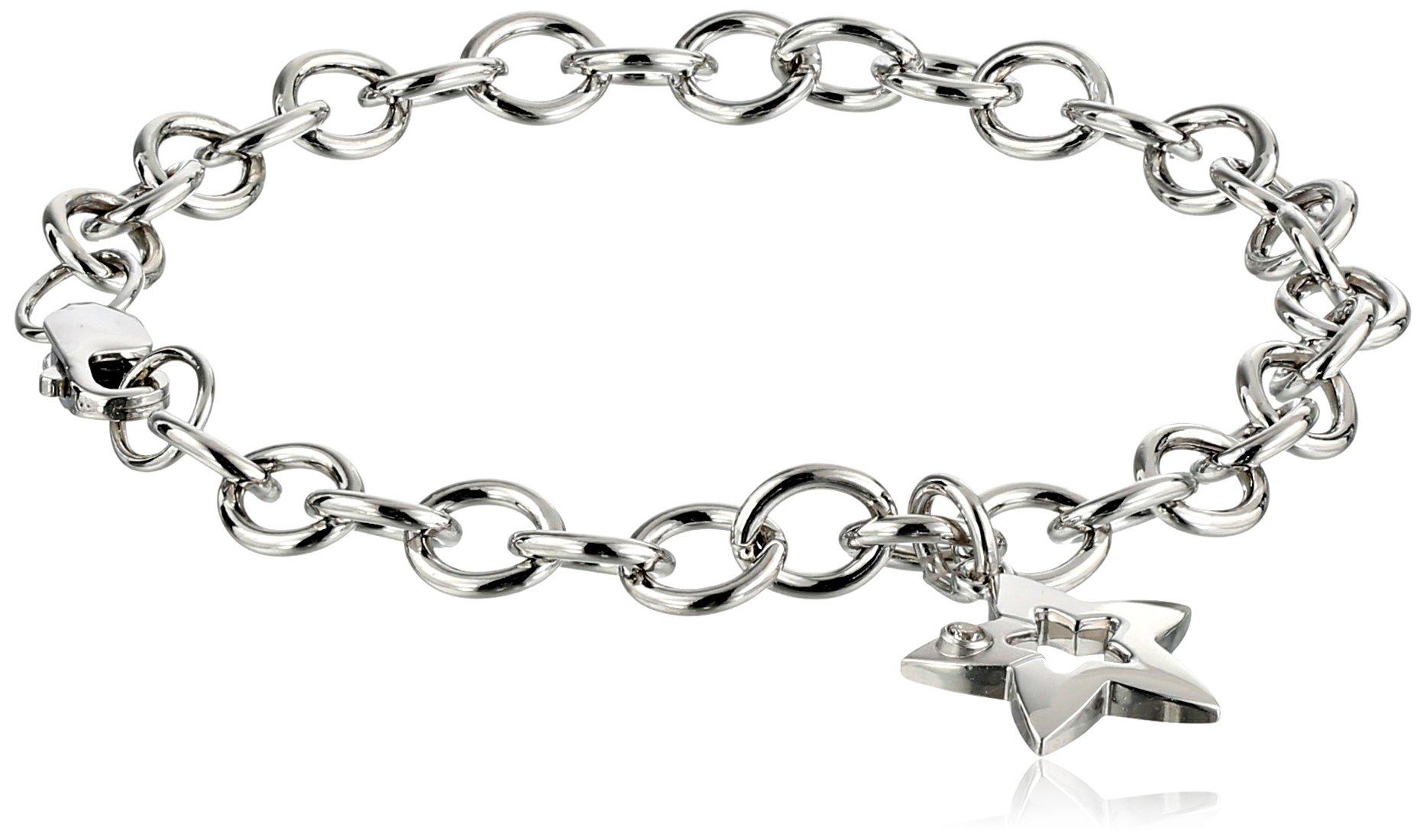 Sterling Silver Pre-Teen Diamond Star Charm Bracelet, 6.75''