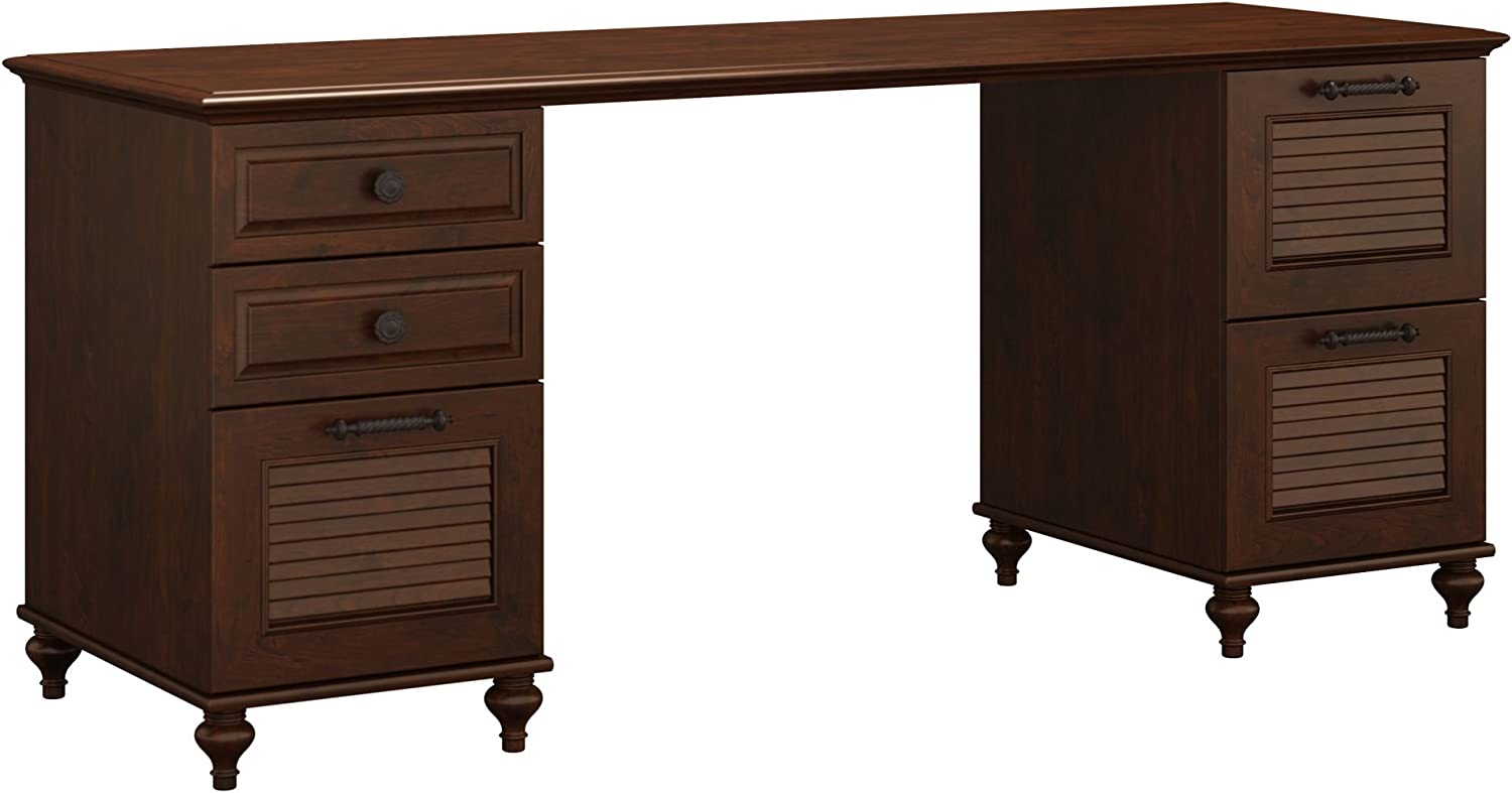 Bush Furniture kathy ireland Home Volcano Dusk, Double Pedestal Desk, Coastal Cherry