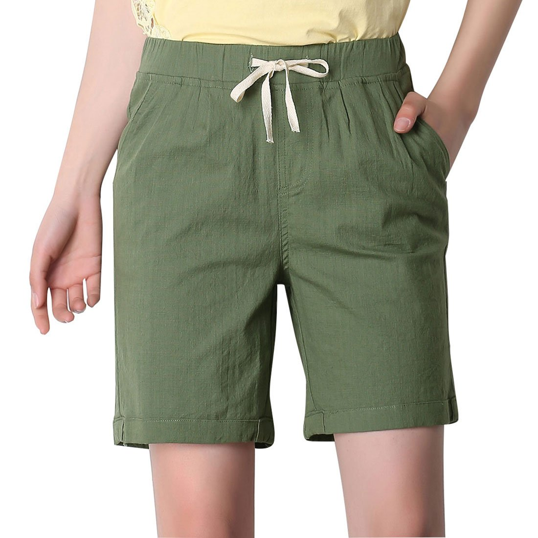 Chartou Women's Modest Loose Elastic-Waisted Bermuda Drawstring Casual Shorts (Large, Army Green)