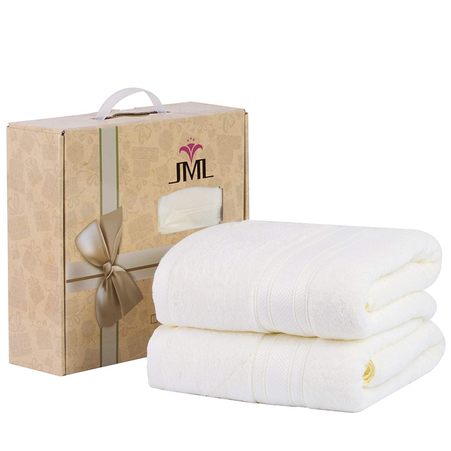 Jml Bath Towels, Bamboo Bath Towels(2 Pack, 27'' x 55''), 500GSM - Oversized, Hypoallergenic, Soft and Absorbent, Quick Drying Hotel Spa Bath Towel