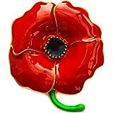 Broche Coquelicot Longueur 4.6cm avec Email Rouge/Noir Hautement Brillant et Tige Verte - Badge Broche