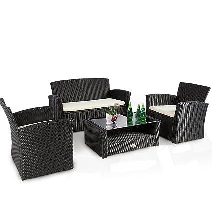 Cloud Mountain 4 PC Wicker Rattan Furniture Set Sofa Cushioned Patio Wicker  Rattan Furniture Set Chair