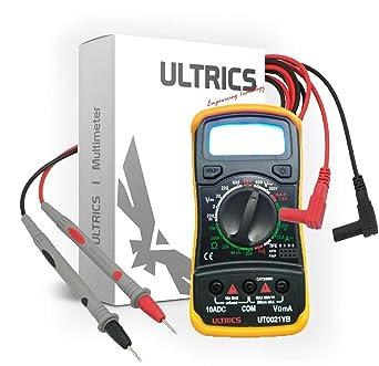 ULTRICS FBA-0021-YB - Multimetro Digital, Profesional Voltimetro Amperimetro, Tester Ohmímetro