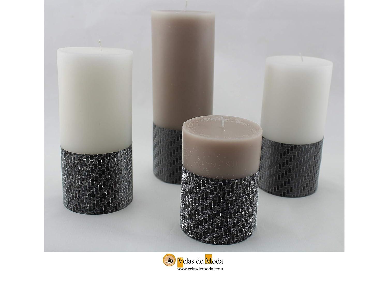 VELAS LAZOS. Pack de cuatro velas, dos de color blanco, y dos del ...