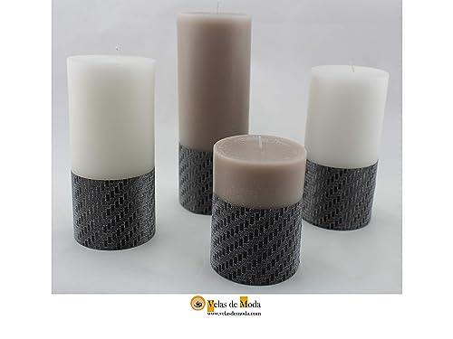 VELAS LAZOS. Pack de cuatro velas, dos de color blanco, y dos del color que se elija y la base está decorada con unos lazos decorativos.: Amazon.es: Handmade