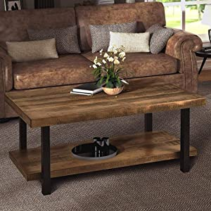 Rustic Nature Coffee Table, Aplos Large Retro Wood Slabs Coffee Table with Metal Legs and Storage Shelf for Living Room, Easy Assembly(Rectangle)