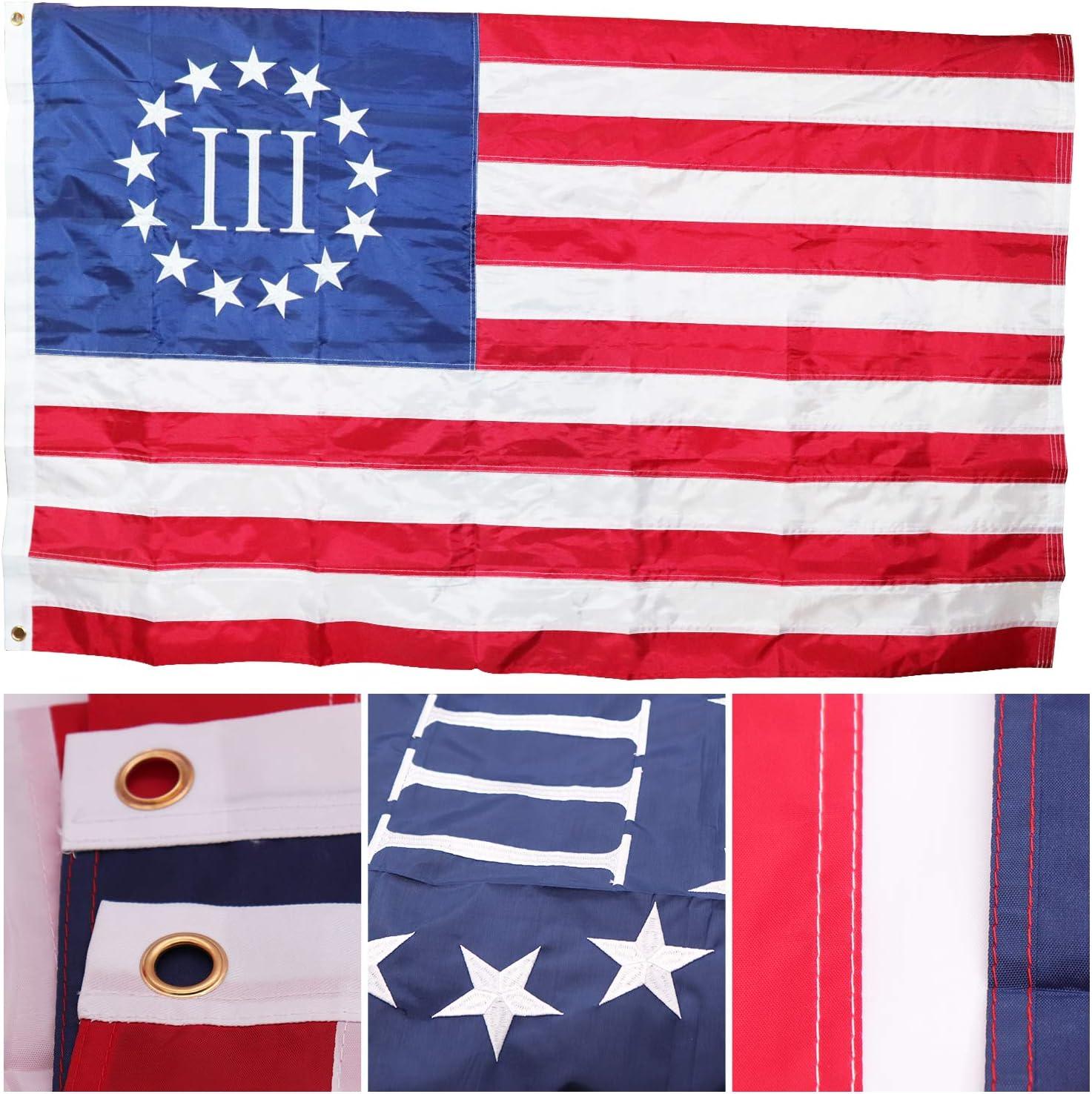 "sewn edges Nyberg III 3/% Three Percent Flag 4/""x6/"" Desk Table Stick"