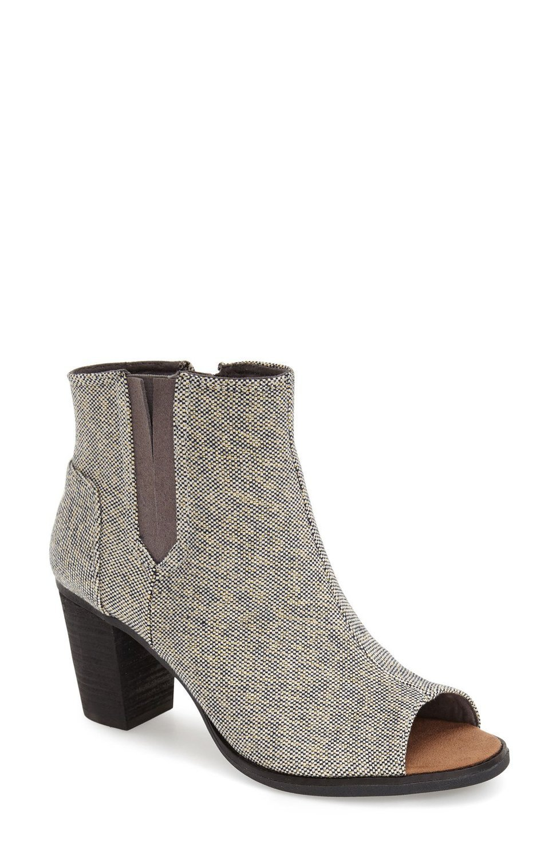TOMS Women's Majorca Peep Toe Bootie Boot Castlerock Grey Metallic Linen Size 8.5 B(M) US