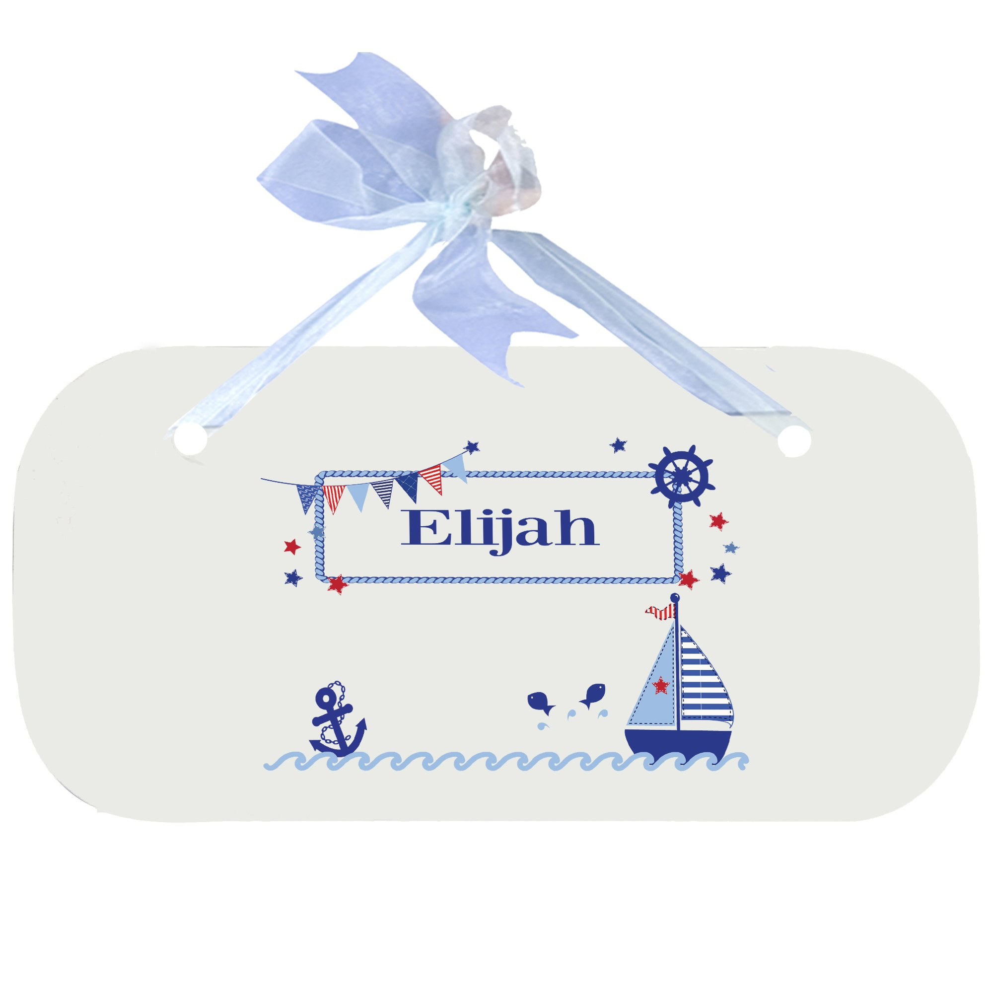 Personalized Boys Sailboat Nursery Door Hanger Plaque with blue ribbon