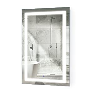 Krugg LED Bathroom Mirror 20 Inch X 32 Inch | Lighted Vanity Mirror Includes Dimmer and Defogger | Wall Mount Vertical or Horizontal Installation |