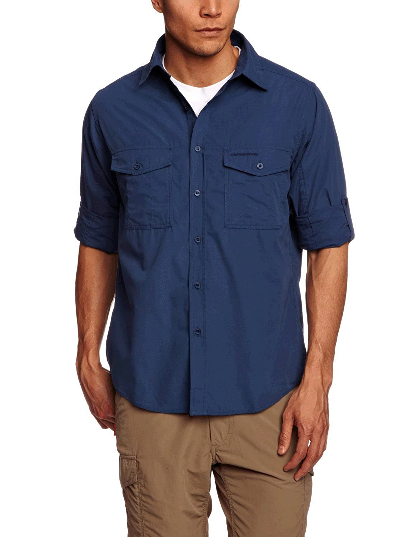 Craghoppers Kiwi Color Negro Camisa para Hombre