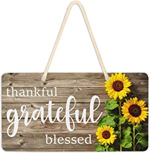 Emelivor Sunflower Decor Thankful Grateful Blessed Sign Welcome Sunflower Front Porch Door Decor Wall Plaque House Like Wood Sign Home Kitchen Decor Hanging