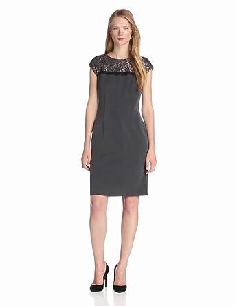 Nine West Dresses Women's Cap Sleeve Lace Yoke Sheath Dress, Charcoal, 4