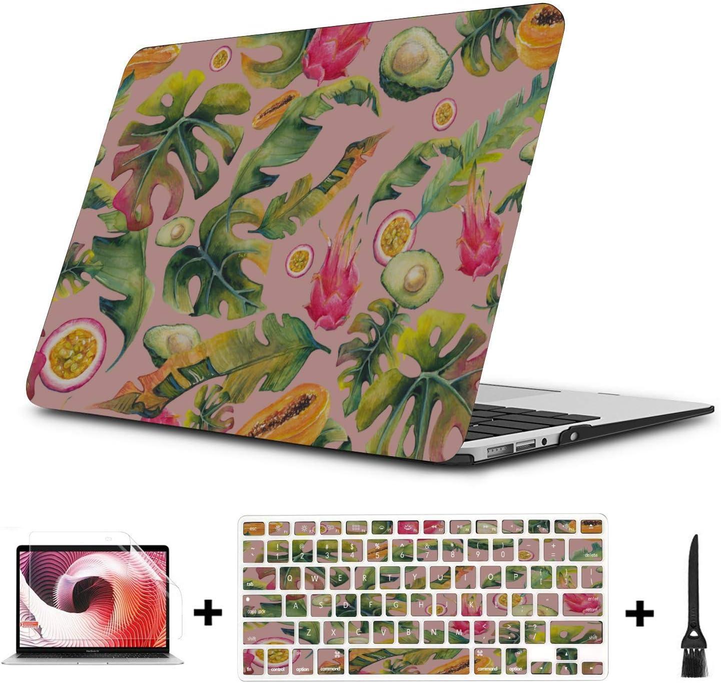 MacBook Protective Case Sweet Art Tropical Fruit Dragon Leaf Plastic Hard Shell Compatible Mac Air 11 Pro 13 15 MacBook Pro Cases Protection for MacBook 2016-2019 Version