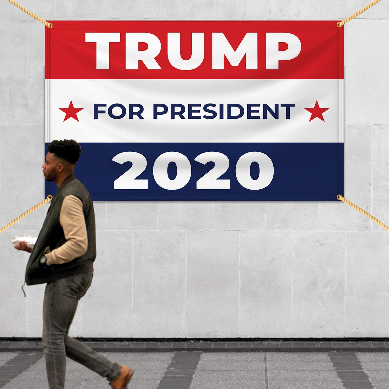 Political Voting Campaign for Indoor Outdoor Trump for President 2020 Vinyl Banner 11 Oz Heavy Duty Flex Banner with Metal Grommets /& Hemmed Edges 8 X 3