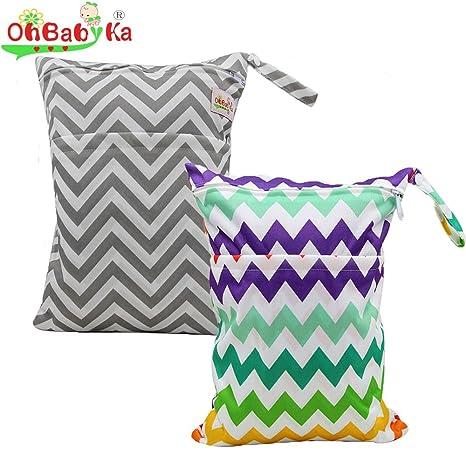 ohbabyka bebé reutilizable bebé mojado y seco pañales organizador doble cremallera bolsa style-011 Talla