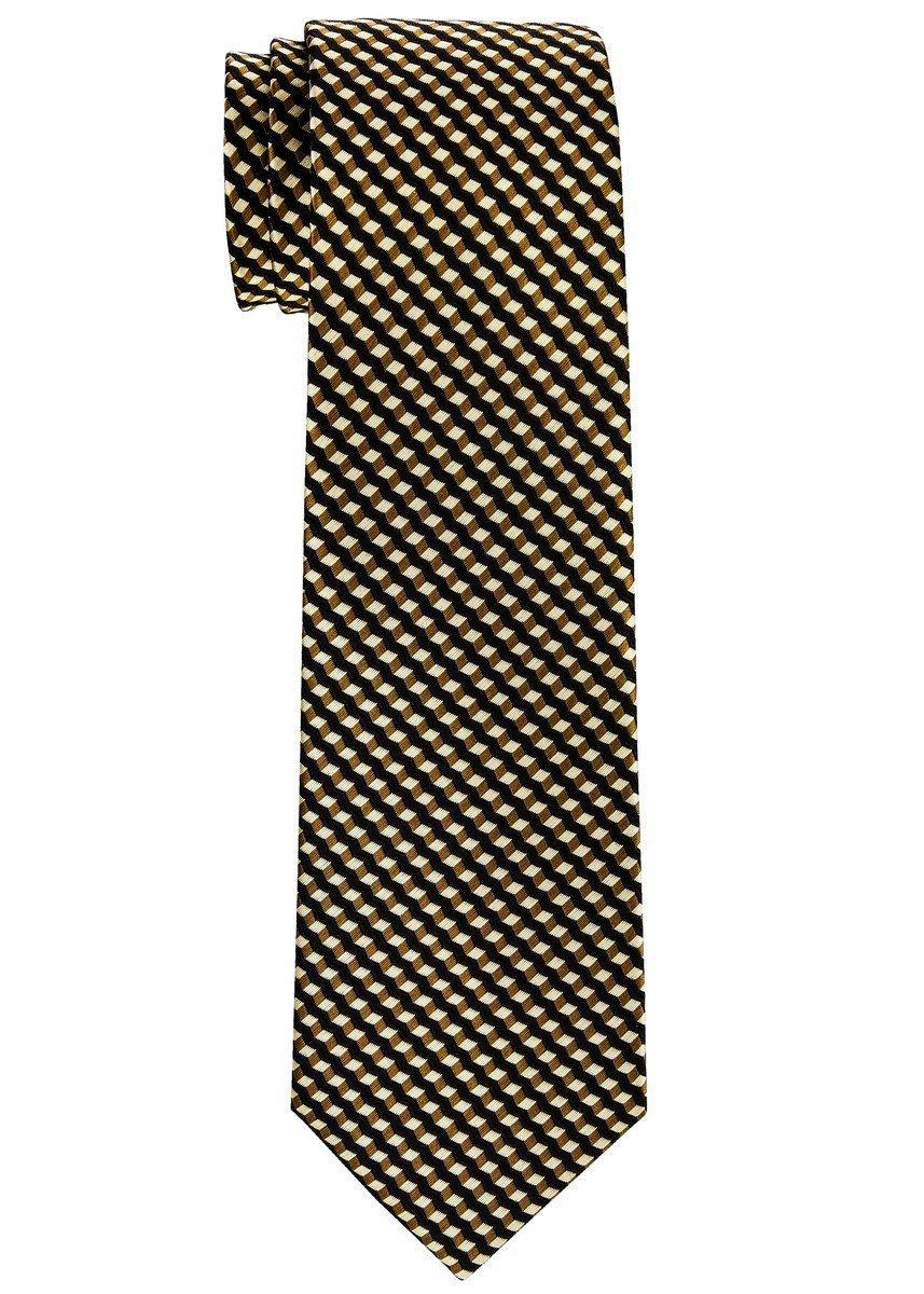 Retreez Wavy Zig Zag Stripe Pattern Woven Boy's Tie (8-10 years) - Brown
