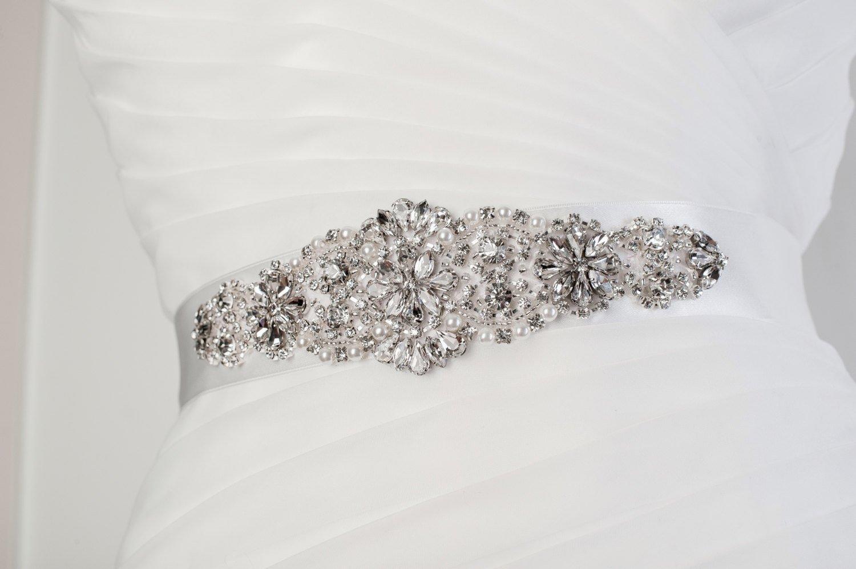 Handmade crystal bridal belt rhinestone pearl luxury wedding dress - Amazon Com White Crystal Bridal Sash Wedding Dress Sash Belt White Rhinestone Crystal Wedding Sash White Rhinestone Crystal Bridal Sash