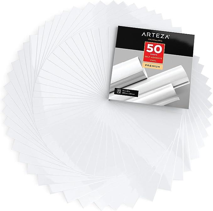 Arteza Láminas de vinilo adhesivo | Color blanco brillante | 50 ...