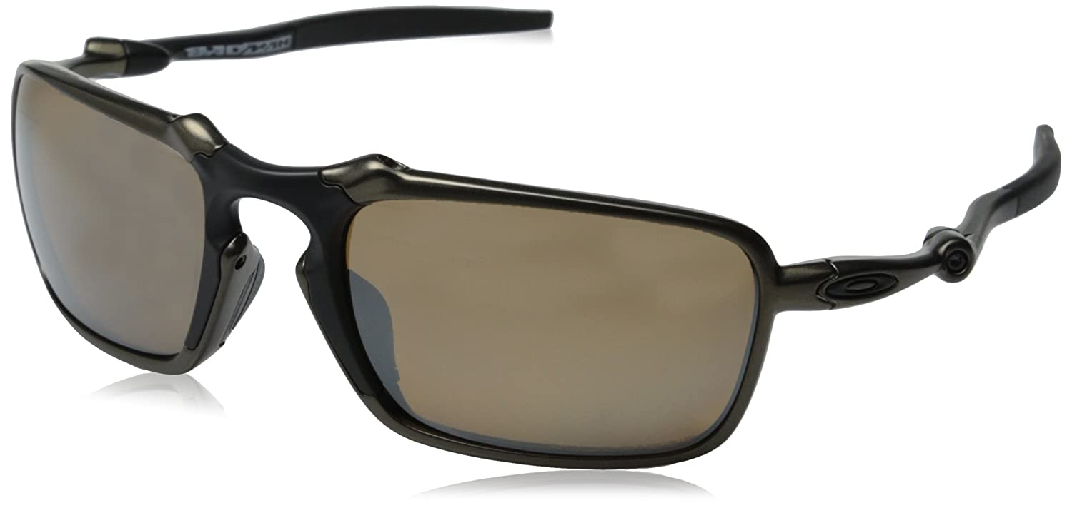 559953f7e0c Oakley OO6020-02 OO6020-02 Badman Pewter - Tungsten Iridium Polarized  Sunglasses  Amazon.co.uk  Clothing