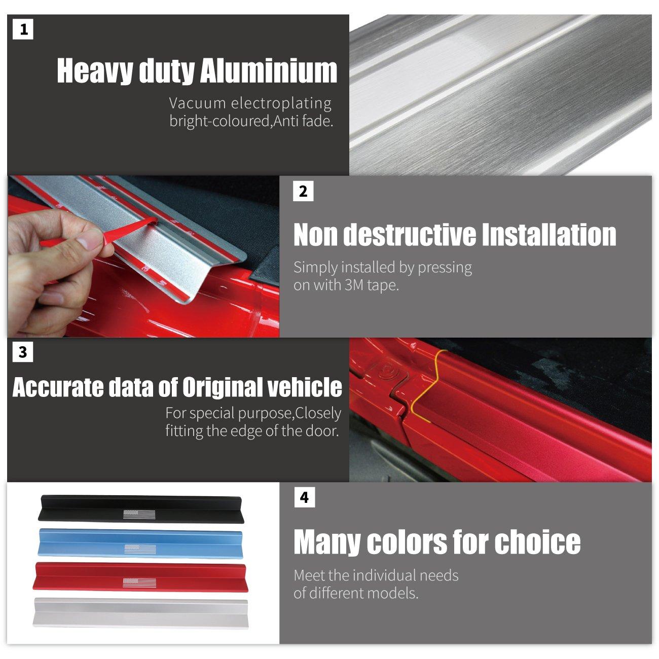 Red Aluminum Alloy Door Sill Guard Entry Guards Protector for 2007-2017 Jeep Wrangler JK 4Door/