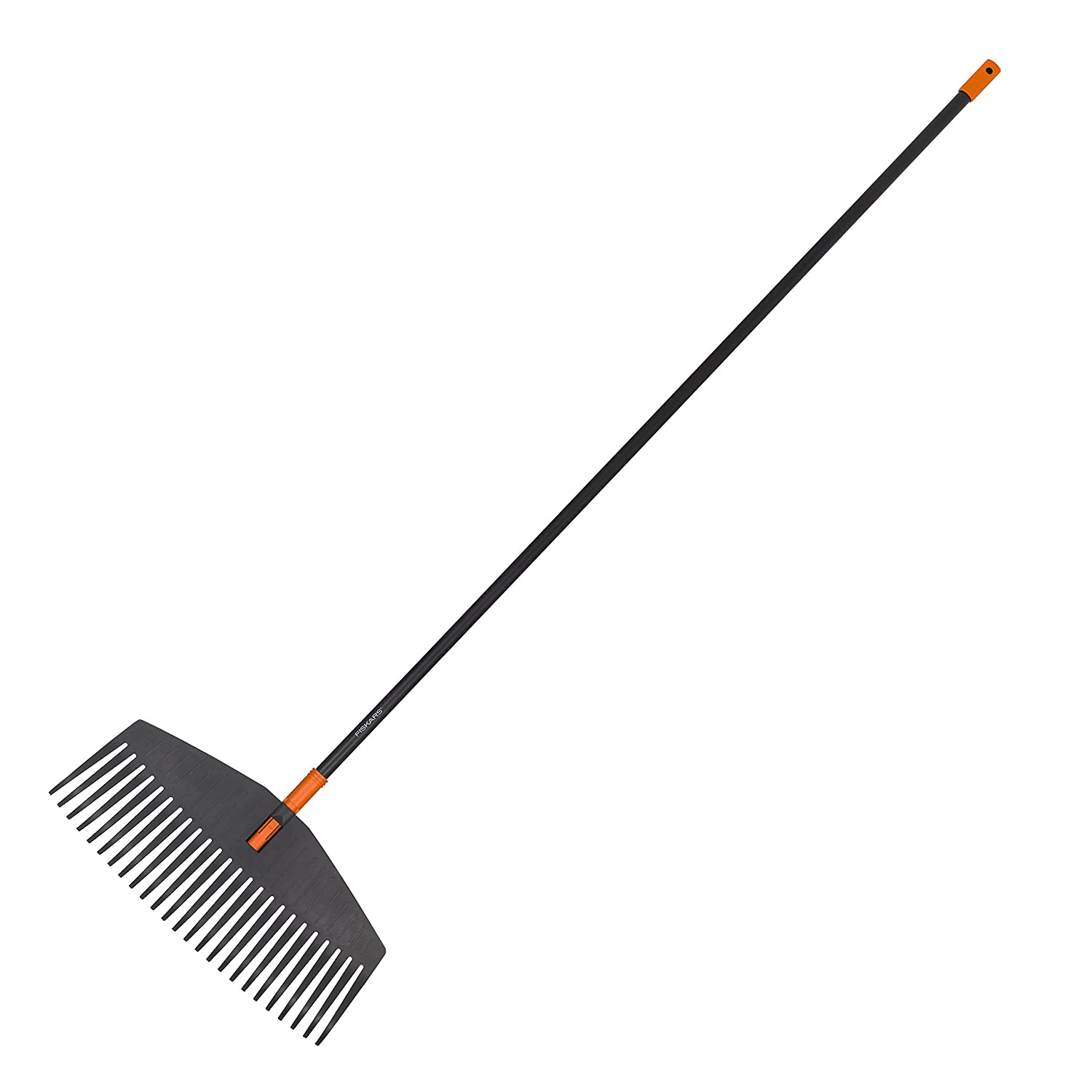 Fiskars Solid Leaf Rake M, 25 tines, Length: 41.5 cm, Plastic prongs/Aluminium handle, Black/Orange, Size: M, 1003464 S8135016