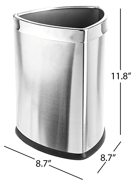 Bon Bennett Magnificent Designed U0026quot;Triangle Shapeu0026quot; Wastebasket, Small  Office Open Top Stainless Steel