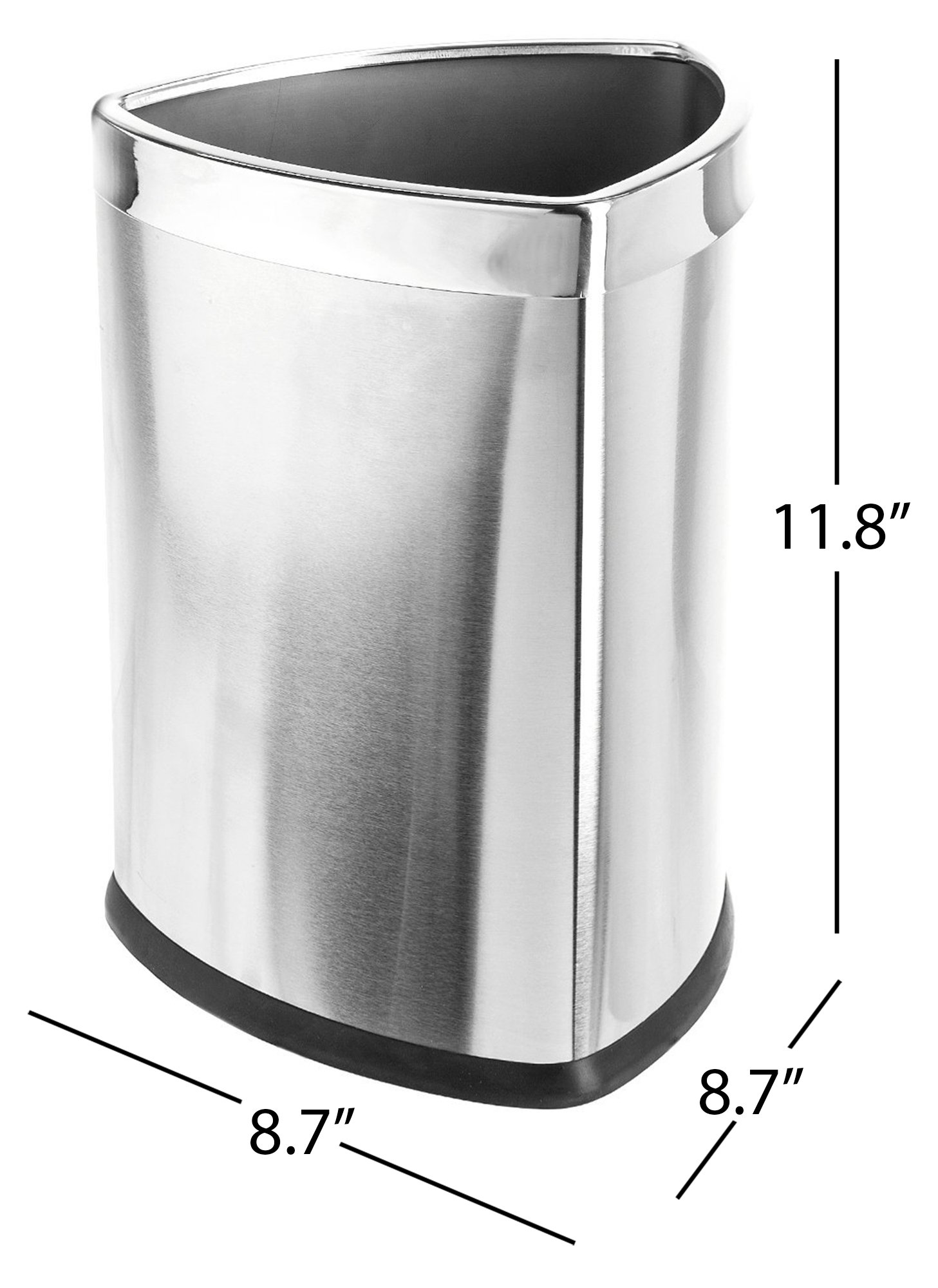 Bennett Magnificent Designed ''Triangle Shape'' Wastebasket, Small Office Open Top Stainless Steel Trash Can,