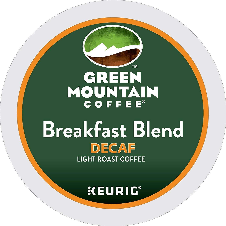 Green Mountain Coffee Breakfast Blend Decaf Keurig Single-Serve K-Cup Pods, Light Roast Coffee (Breakfast Blend Decaf, 100 Count)