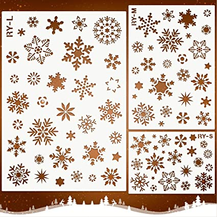 Christmas Re-usable Stencil SNOWFLAKES Pattern Template