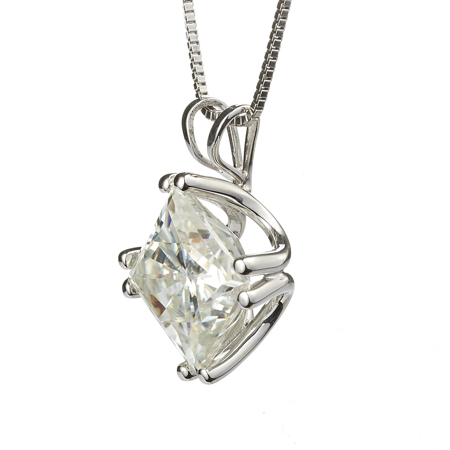 Square Brilliant Cut 7.0mm Moissanite Solitaire Pendant Necklace, 2.10ct DEW by Charles Colvard