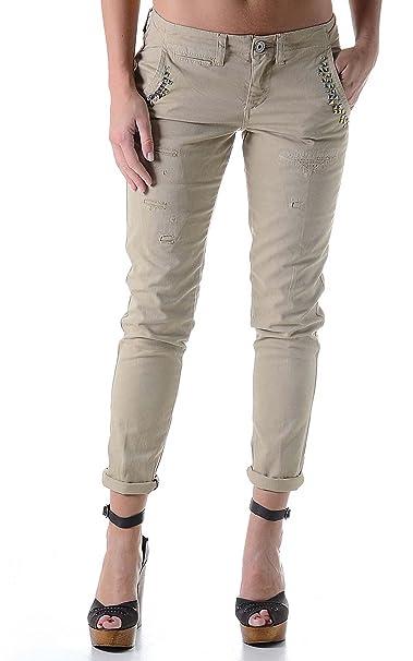 c70d433da Guess Mujer Berta Chino Corte Capri Pantalones marrón  Amazon.es  Ropa y  accesorios