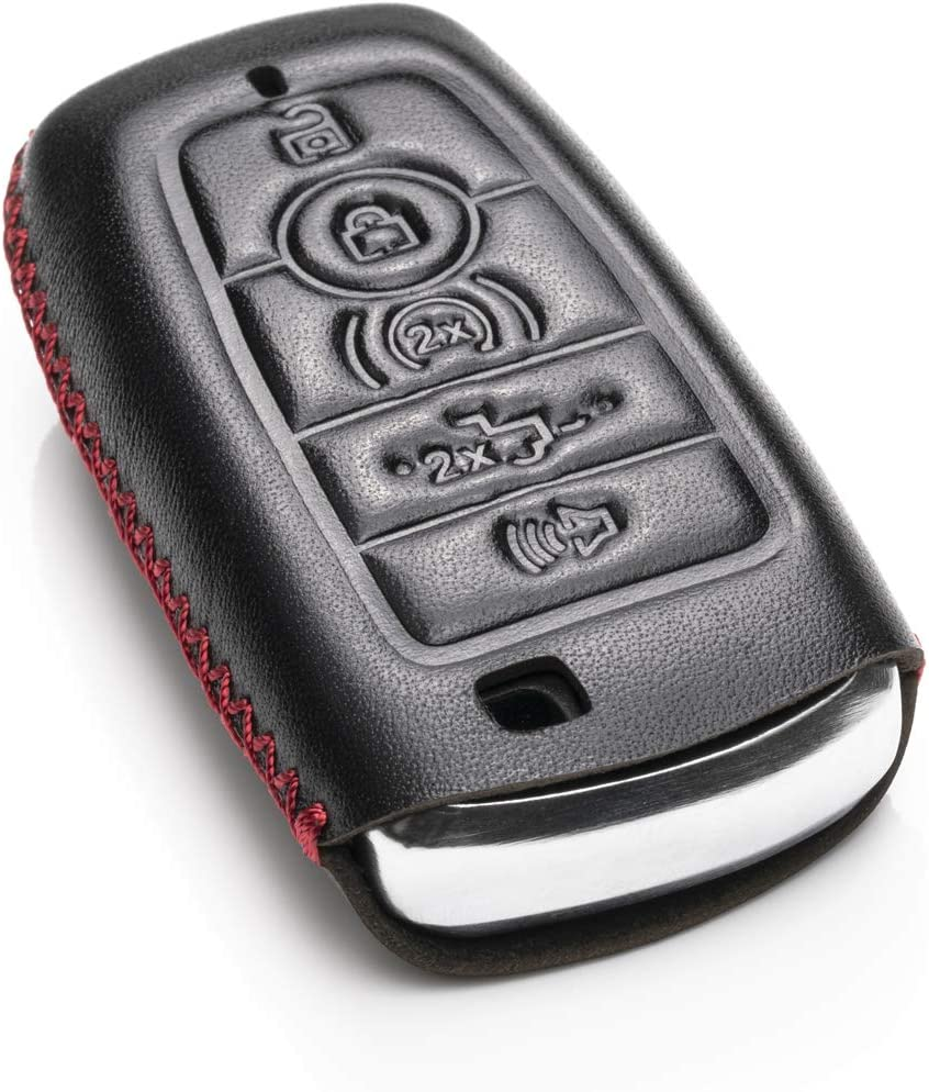 F-150 Explorer Mustang and More Models Edge 5-Button, Brown Vitodeco Genuine Leather Smart Key Keyless Remote Entry Fob Case Cover with Key Chain for 2019 Ford Fusion Escape