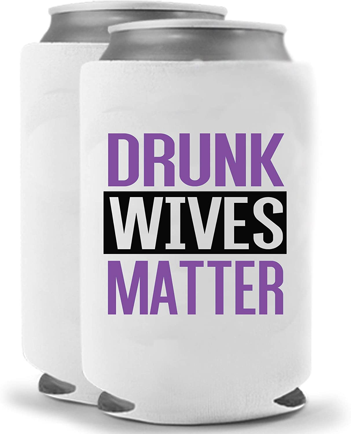 Drunk Wives Matter - Purple | Set of Two (2) Funny Novelty Can Cooler Coolie Huggie | Beer Beverage Holder - Beer Gifts Home - Quality Neoprene No Fade Can Cooler