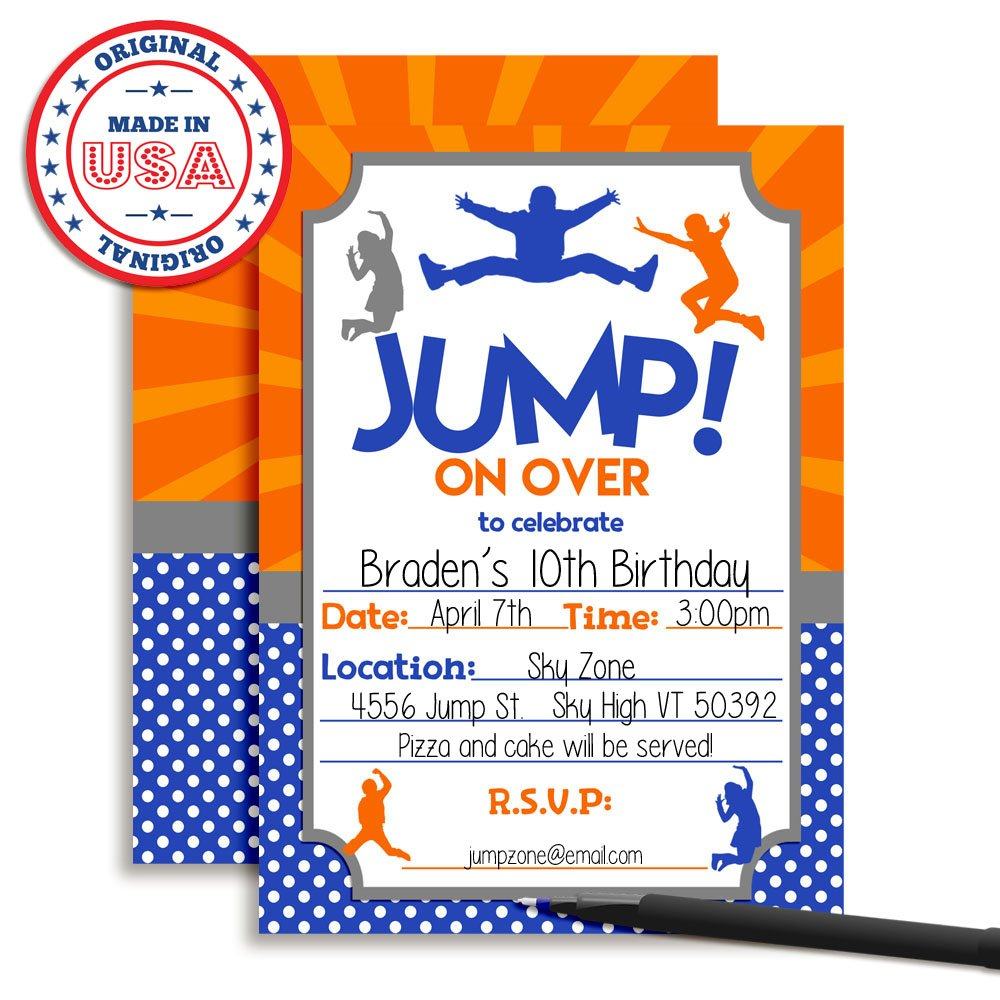 Amazon Jump Zone Bounce And Play Trampoline Park Jumping Birthday Party Invitations 20 5x7 Fill In Cards With Twenty White Envelopes By