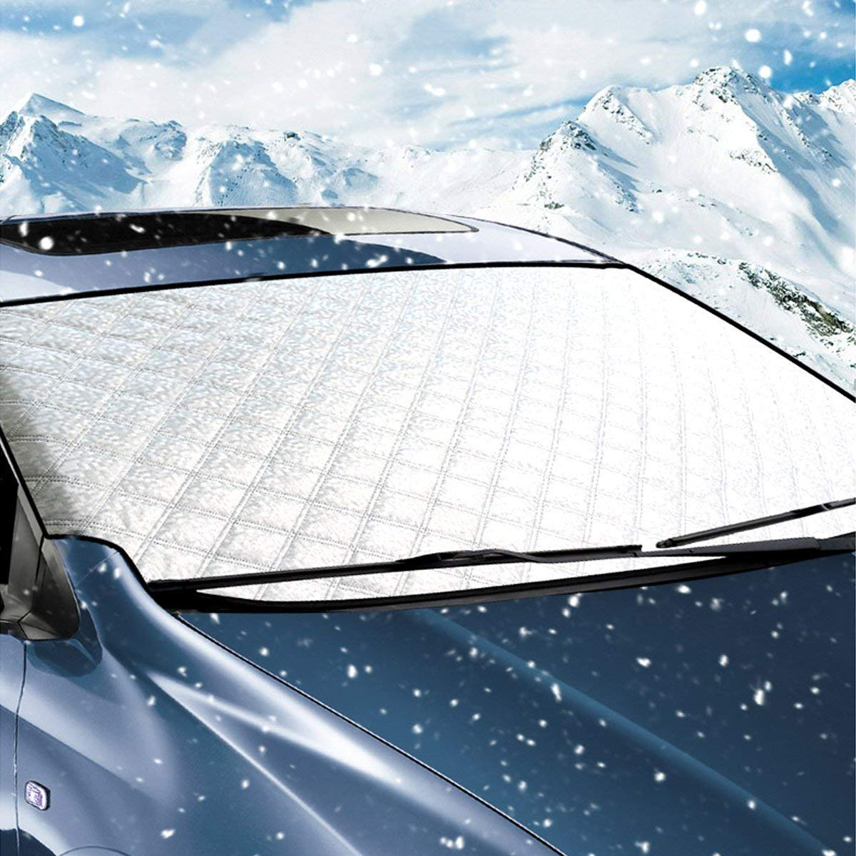 Windshield Snow Cover, Thickened Snow Cover with Ice Scraper Bonus Frost & Ice Windscreen Protector Wind Proof for Four Season, Fit for Most Vehicle 160cm x 110cm/62.99' x 43.3' Fit for Most Vehicle 160cm x 110cm/62.99 x 43.3 Big Ant