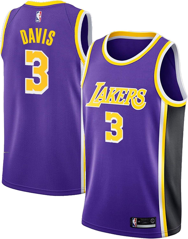 Mens Lakers Davis 3# Jersey Anthony Purple Statement Edition T-Shirt Jersey Short Sleeve Sport Top