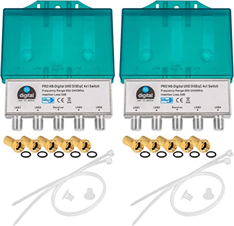 10x DiseqC Schalter 4//1 Best Germany SAT Wetterschutzgehäuse Umschalter Full HD