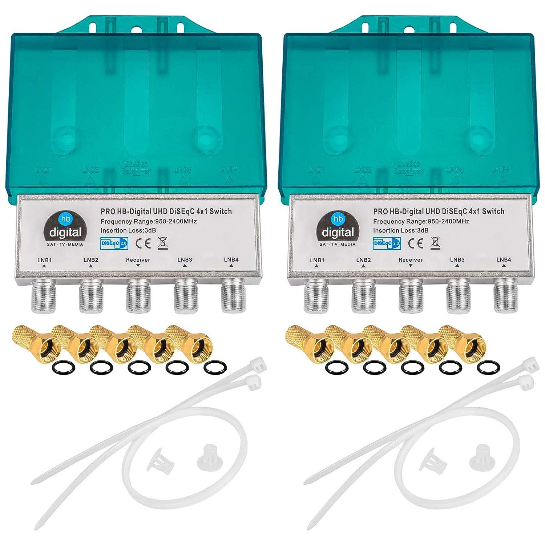 Receiver f/ür Full HDTV 3D 4K UHD 6 x Vergoldete F-Stecker Vergoldet 2X PRO DiseqC Schalter Switch 2//1 mit Wetterschutzgeh/äuse HB-DIGITAL 2X SAT LNB 1 x Teilnehmer