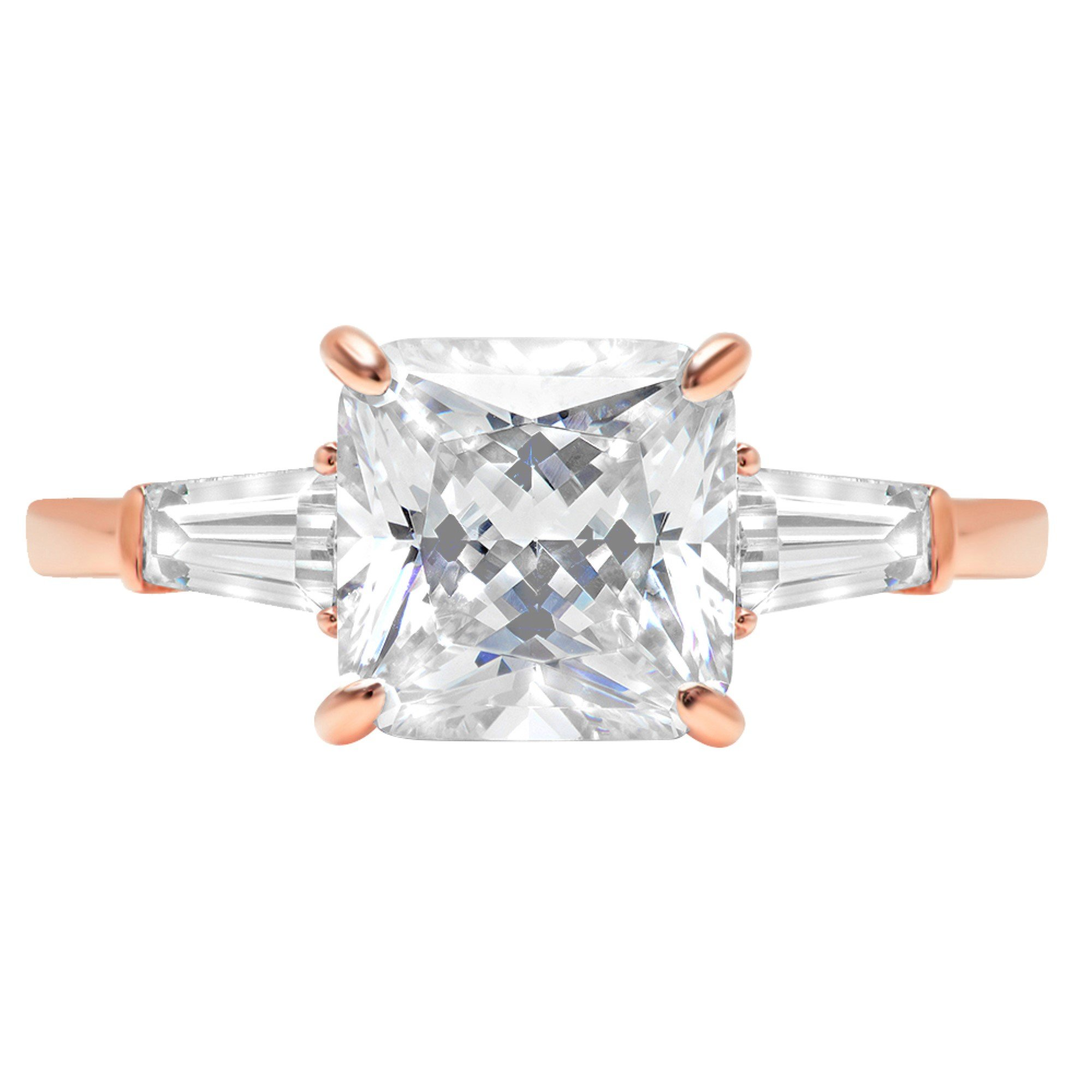 14k Rose Gold 3.3ct Asscher Baguette 3-Stone Classic Solitaire Designer Wedding Bridal Statement Anniversary Engagement Promise Ring, 11, 11