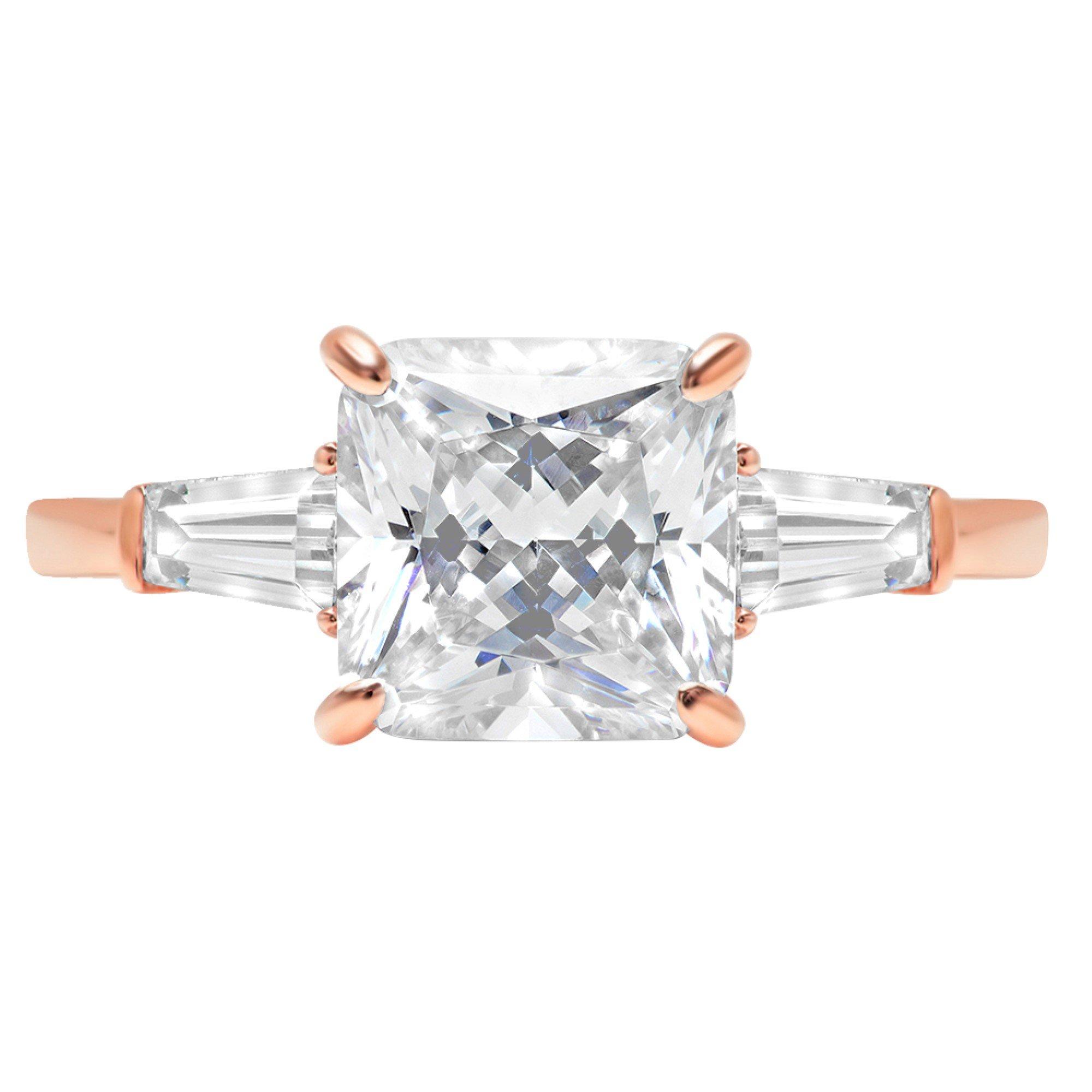 14k Rose Gold 3.3ct Asscher Baguette 3-Stone Classic Solitaire Designer Wedding Bridal Statement Anniversary Engagement Promise Ring, 11, 11