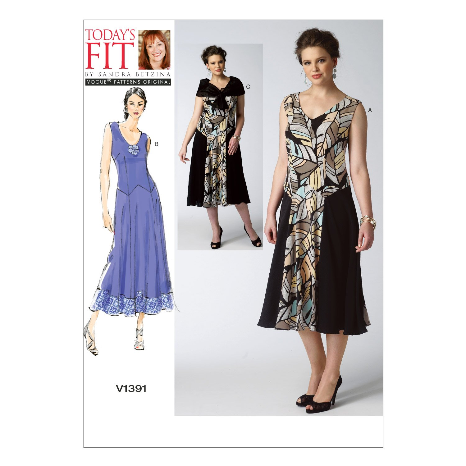 Vogue Patterns V1391 Misses' Dress and Detachable Capelet Sewing Template, All Sizes by Vogue Patterns B00JQAQQX0