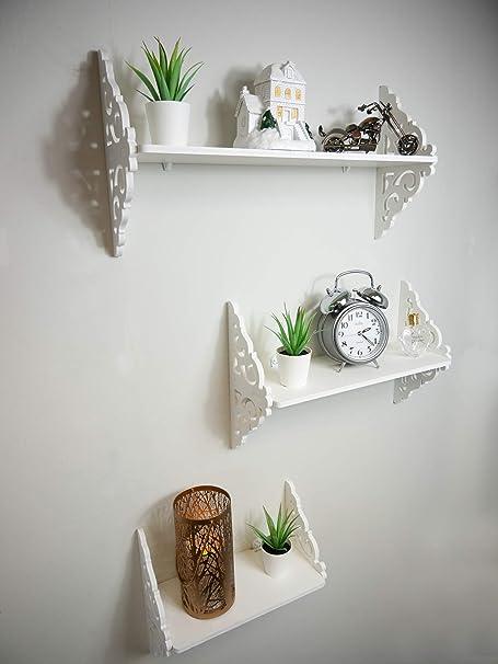 Un Insieme Di Mensole.Homezone 3pc Set Di Mensole A Muro Ornato Decorativo Da Parete