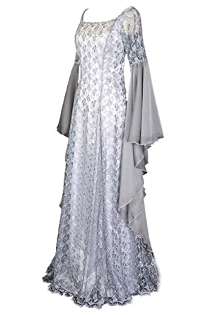 9e91105483c Pattistore Women s Halloween Irregular Long Dress White Medieval Renaissance  Dress Large at Amazon Women s Clothing store