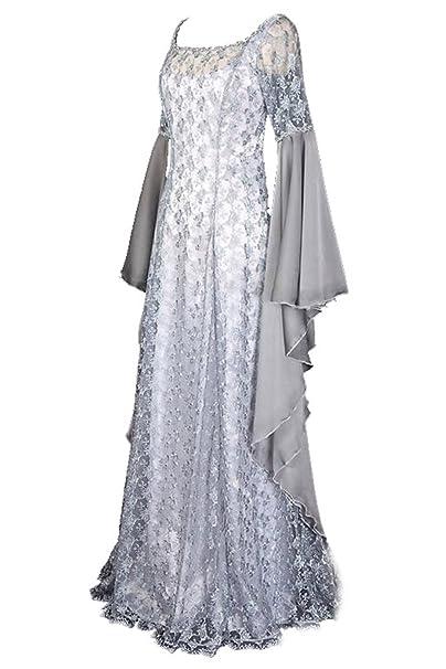 lancoszp Vestido de Costura Renacentista Medieval para Mujer Disfraz de Manga con Llamarada de Encaje: Amazon.es: Ropa y accesorios